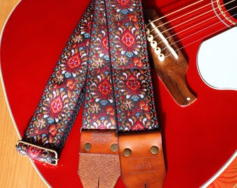 """The Limited Edition """"Zephyr"""" Air Guitar Strap, Woven, Thick Leather Ends, Personalisation, Custom Engraving and Logo Options"""