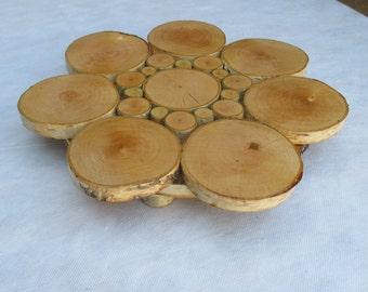 12'' cake stand, Rustic Wood Centerpiece, Wood Cake Stand, Birch log stand, Rustic Wood Stand, Rustic Wedding Decor, birch slice cake stand