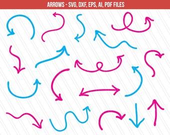 Arrow svg cutting files | DXF | Arrow vector | Arrow for printing | Arrow clipart | Hand drawn arrows | Cricut | eps,dxf,ai,svg,pdf