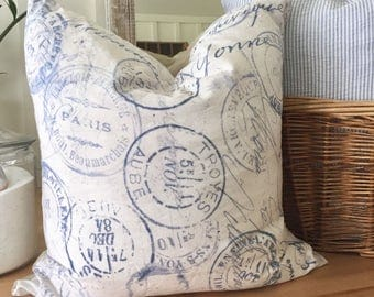 Blue and White French Vintage Design Pillow Cover