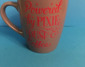 coffee and pixie dust chocolate coloured mug powered by pixie dust and coffee personalised upon request