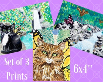 Fairy Cat Prints, Cat Art, Set of Prints, Set of 3 Prints of Cats, Cat Lover Gift, Set of 3 Cat Prints, Set of Three Prints, Cute Cat Gift