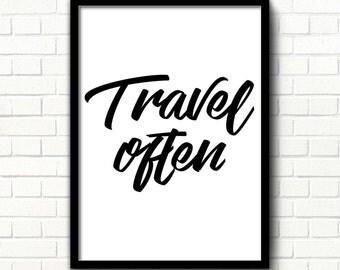 Travel quote print decor Adventure quote Travel often poster Travel Wall printable art print Wanderlust print Scandinavian modern art