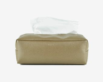 Rectangle Tissue Box Cover, Facial Tissue Holder, Soft Touch, Dark Brown
