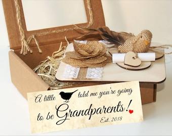 Pregnancy announcement grandparents-Pregnancy reveal to grandparents-Pregnancy reveal gift-Pregnancy announcement gift-A little birdie told