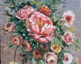 "Original oil painting, Pink Flower in Vase, 1703212, 16""x12"""