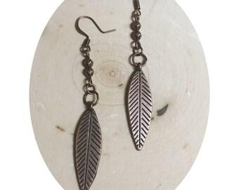 Antiqued Copper Leaf Earrings