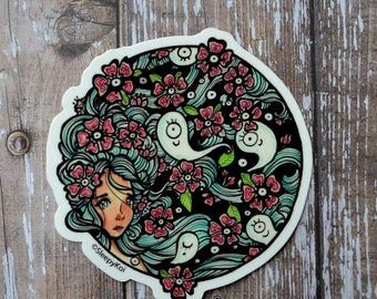Haunted Garden 3 Inch Vinyl Sticker Inspired by springtime gardens and ghosts). Planner Accessories Back to School Stationery Laptop Phone