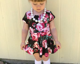 Pink Rose Black Peplum Dress Top Girls 6 months to 6 years