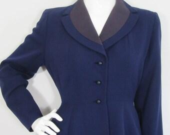 Vintage 1950s DEBAUHAW FREEBODY Navy Blue Wool Coat-UK 6/8
