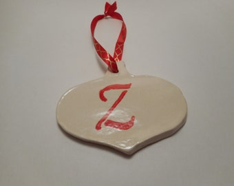 Personalized First Initial Ceramic Ornament Z, Handmade Pottery, Hand Painted, Christmas, Holiday Decor
