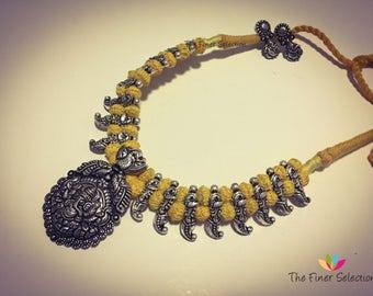 German Silver Ganesh Necklace Set