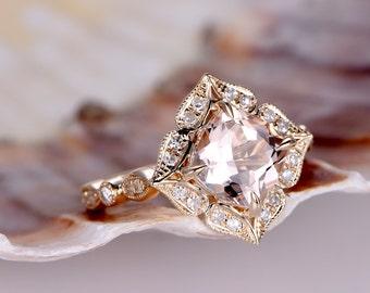 8mm Cushion Cut Morganite engagement ring, 2.3ct VVS Natural Pink Morganite Promise Ring,Morganite Jewelry,Art Deco Wedding Band,rose gold