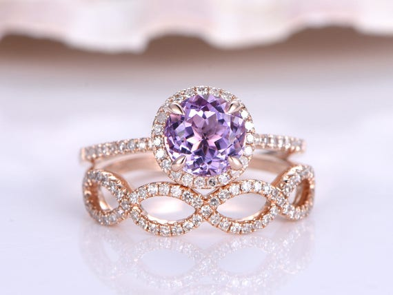 Wedding Ring Set,Natural Amethyst Engagement Ring,6.5m Round Cut Amethyst Ring,Loop Design Diamond Wedding Band,Promise Ring,14K Rose Gold