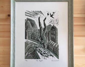 "Lino block print ""the flight"""