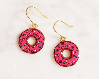 Strawberry frosted Donut Brass Dangle Earrings,Adorable, Cute and Fun, Food Earring