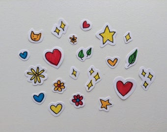 20 Pack OOAK Mini Happy Stickers: Hearts, Stars, Starkles, and Flowers