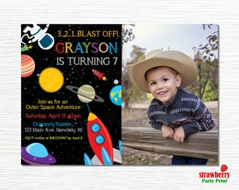 Outer Space Birthday Invitation, Photo Invitation, Space Birthday Party,  Rocket Ship  Party, Astronaut Birthday, UFO, Printable Invitation