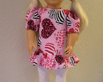 Animal Print Hearts Dress with White Leggings for American Girl and 18-inch Dolls