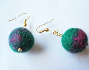 Heathered Green & Pink Felted Earrings
