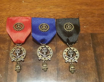 Steampunk Gear and Skull and Crossbones Medal