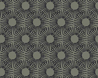 """By The HALF YARD - Punch by Stof Fabrics, Pattern #4507-678 Sunburst Dots in Steel Gray and Black, 1"""" Dandelions"""