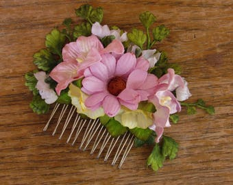 Flower Girl Hair Comb - Flower Hair Comb, Pink Hair Comb, Decorative Hair Combs, Hair Comb Wedding, Flower Girl Hair Combs Flower Hair Combs