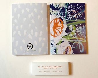Pack of 2 A6 Notebooks, illustrated, embossed, flower print, hand painted, floral, explore, inspirational