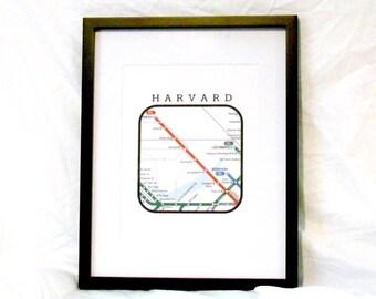 Harvard Neighborhood Travel Print Boston T Map Wall Art Boston T Print Cambridge Boston Harvard University Instant Download