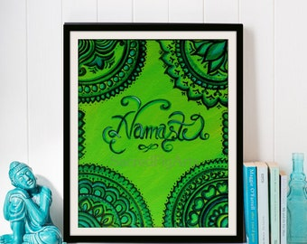 indian art, framed green canvas, india painting, zentangle design, spiritual peaceful, small acrylic gift, hindu decor, pooja altar, 8x10