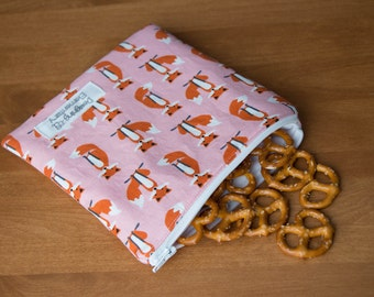 Snack Sets, Snack Bags, Reusable Snack Bags, Set of Bags, Set of Two, School Lunch Bag, Kids Snack Bag, Reusable Sandwich Bag, Fox Snack Bag