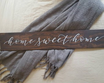 Home Sweet Home Wood Sign | Rustic Sign | Wood Sign | Home Decor | Calligraphy