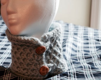Light Blue Cowl with Buttons