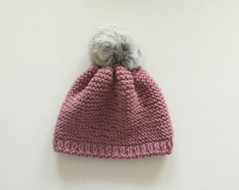 Dusty pink cotton baby beanie grey fur pompon. Hats for kids, pink Baby hat, handmade baby clothing, cotton hat, new born clothes, baby gift