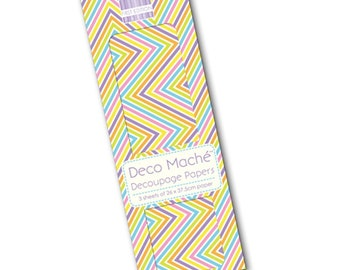 Bright Chevron Pattern Decoupage Papers x 3 - First Edition