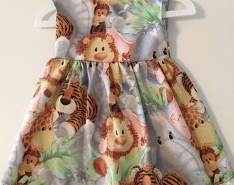 """Jungle Baby Animals Dress Made to Fit Like American Girl Doll Clothes, 18"""" Dolls, Lions, Tigers, Monkeys, Bitty Baby, Madame Alexander"""