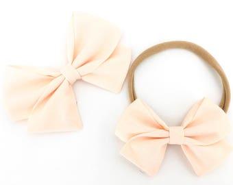 Signature Bow in Blush - Nylon headband bow - Girls Fabric Bow - Baby Girl Headband - Toddler Bow