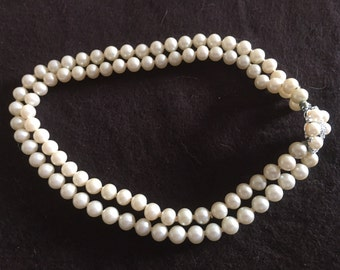 Vintage double strand Faux Pearl Necklace Choker Wedding