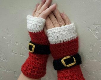 Christmas gloves! Fingerless gloves-Santa handwarmers.