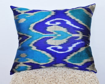 Juicy blue ikat pillow
