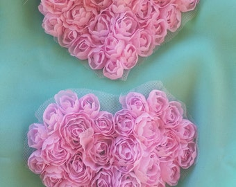 2 Pink Rosette Hearts