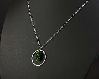 Natural Tsavorite garnet and sterling silver necklace
