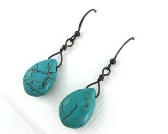 Bronze Turquoise Howlite Teardrop Earrings