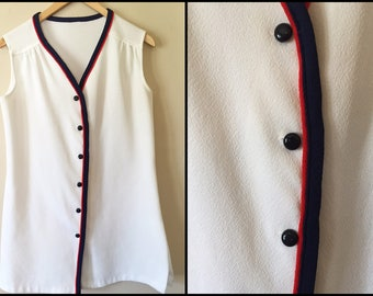 1960's Mod White Ultra Mini Dress with Red/Navy Piping