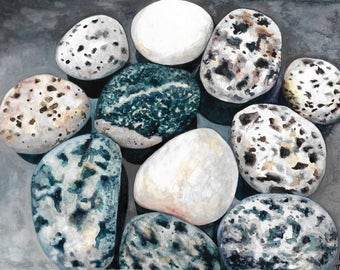 River Rock Painting, Rock Watercolor Painting, Granite Rocks, MargoVangoghCreates, Stone Painting, Realistic Rock Painting, Stones, Rocks