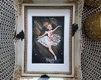 ORIGINAL Edgar Degas Inspired Gouache Ballerina Painting