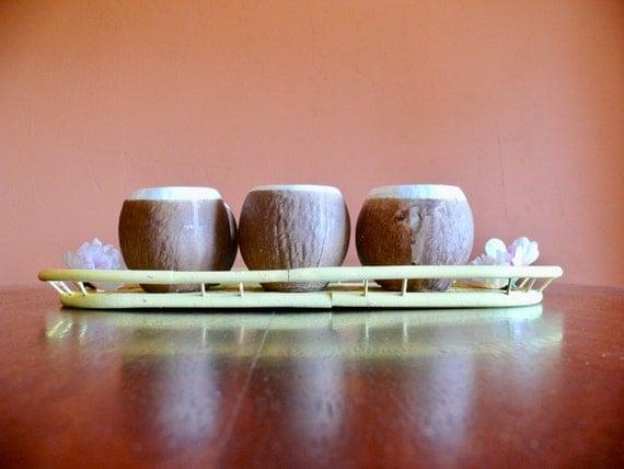 6 Trader Vic's Ceramic Coconut Tiki Mugs, Vintage Hawaiian Style Tiki Coconut Cups, Mid Century Tiki Barware