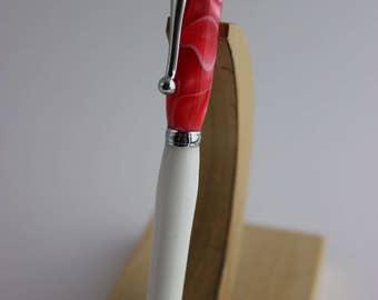Elegant Pink/White Slimline Pen