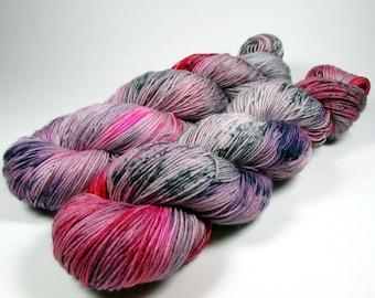 Hand Dyed Sock Yarn, Gray, Red, Pink, Purple, Speckles, Variegated, Superwash Merino Wool and Nylon, Love Conquers All
