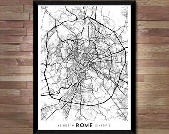 Every Road in Rome map art | Printable Rome map print, Rome print, Italy map, Italy print, Rome poster, Rome art, Rome wall art, Rome gift